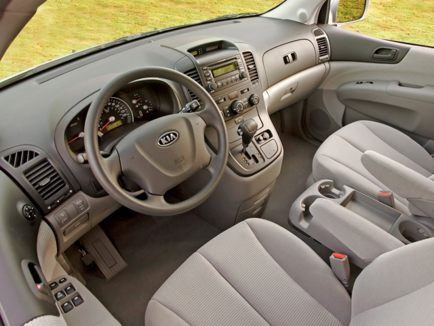 2010 Kia Sedona interior. Interior: The 2010 Sedona's cabin is fairly simply